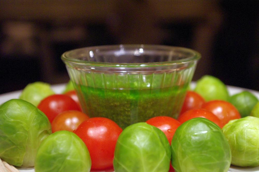 Amuse bouche - medvehagyma pesto és a zöldségek